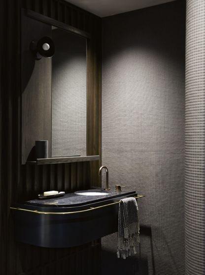 dark bathroom with gray walls