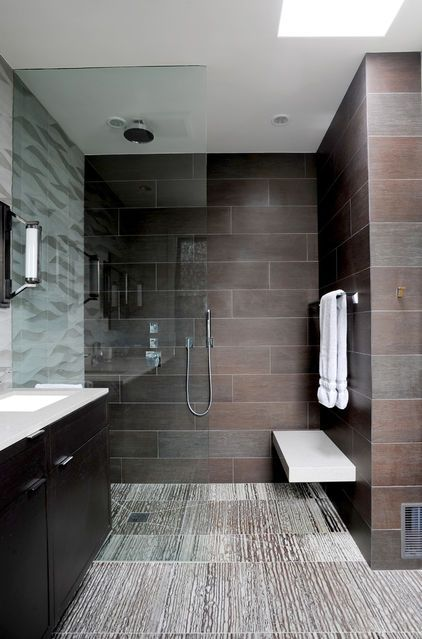 walk in showers glass panel tile floor curbless shower