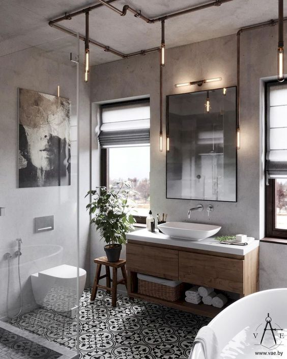 bathroom design trends of 2019 industrial aesthetic natural wood and concrete