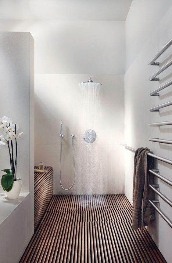walk in showers tropical shower wood slats white bathroom