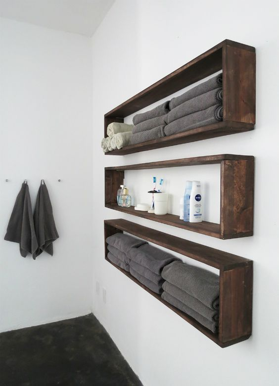 bathroom design trends of 2019 natural wood floating shelves for small spaces