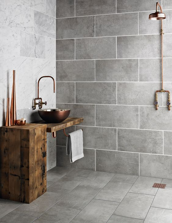 walk in showers minimalist industrial bathroom with natural wood accents