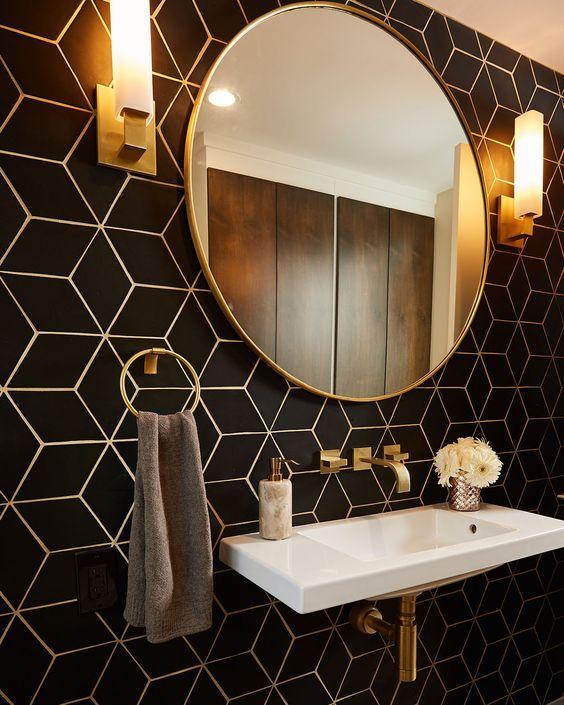 bathroom design trends of 2019 geometric wall tiles backsplash in gold and black
