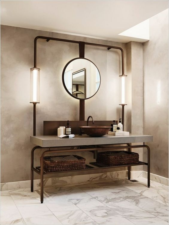 bathroom design trends of 2019 copper pipe and vessel sink industrial aesthetic