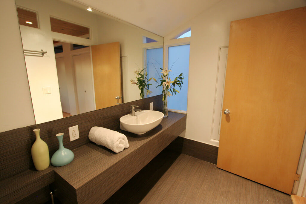 A bathroom outfitted with eco-friendly fixtures