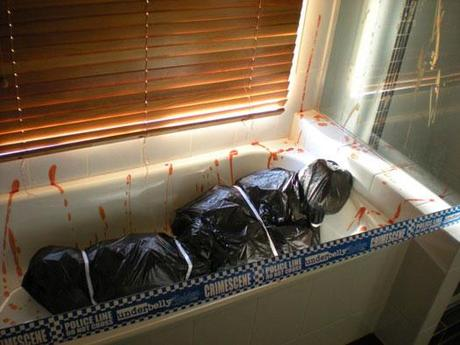 Fake Corpse Body Bag in the Bathtub