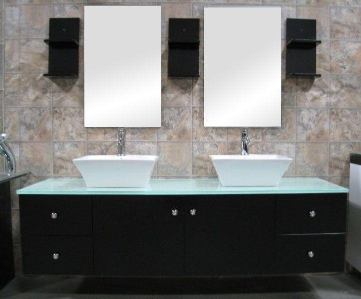 modern black double vessel sink floating vanity