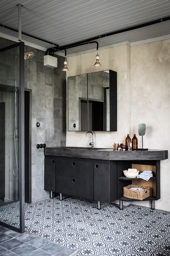 bathroom design trends of 2019 industrial aesthetic concrete geometric tile floor