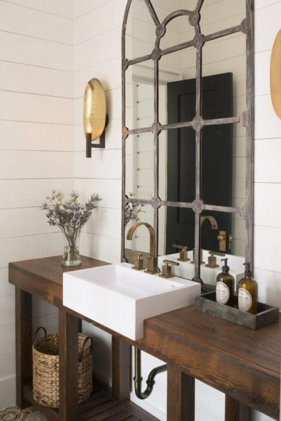 beautiful natural wood single sink farmhouse style modern bathroom vanity