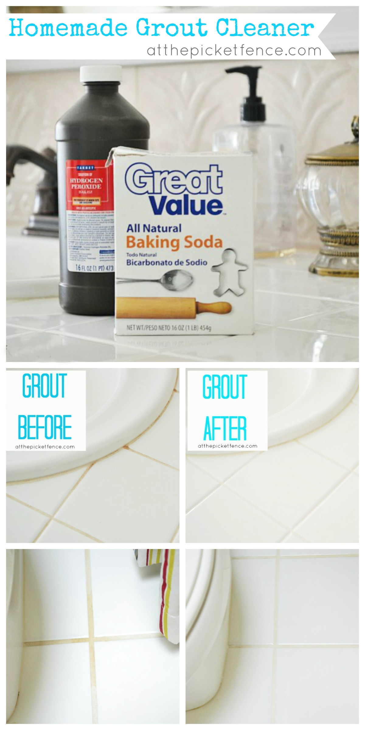 Hydrogen peroxide bathroom cleaner - Homemade Grout Cleaner