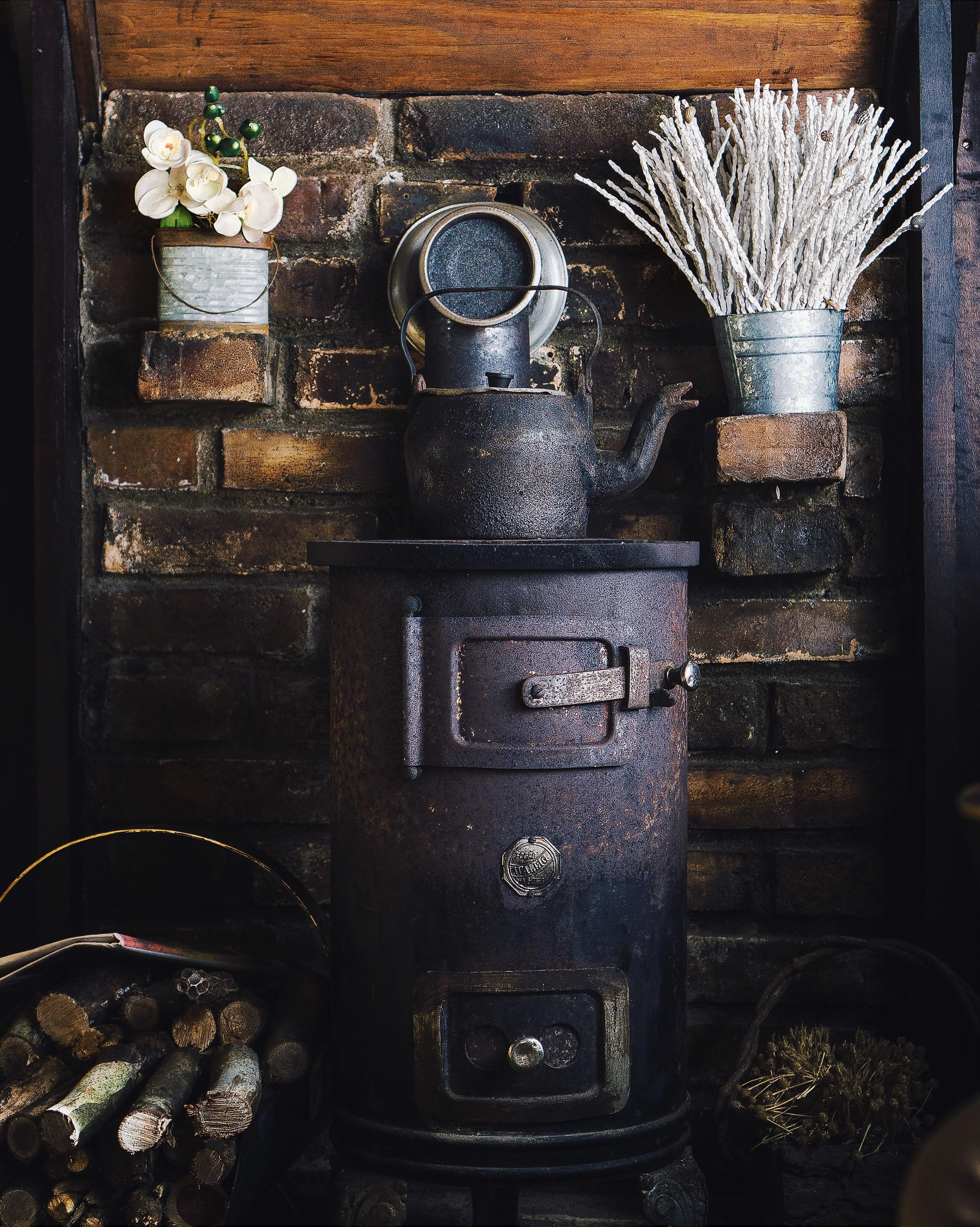 old cast iron furnace and kettle brick wabi-sabi