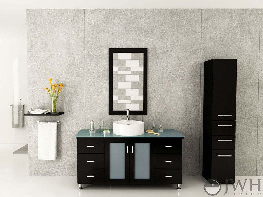 grand lune single bath vanity in espresso with glass top best material for a bathroom vanity