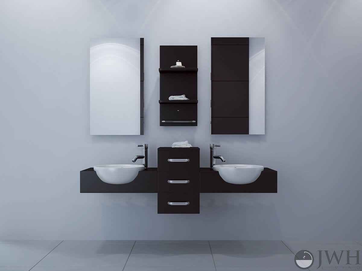 modus double wall mounted bathroom vanity dark wood masculine design