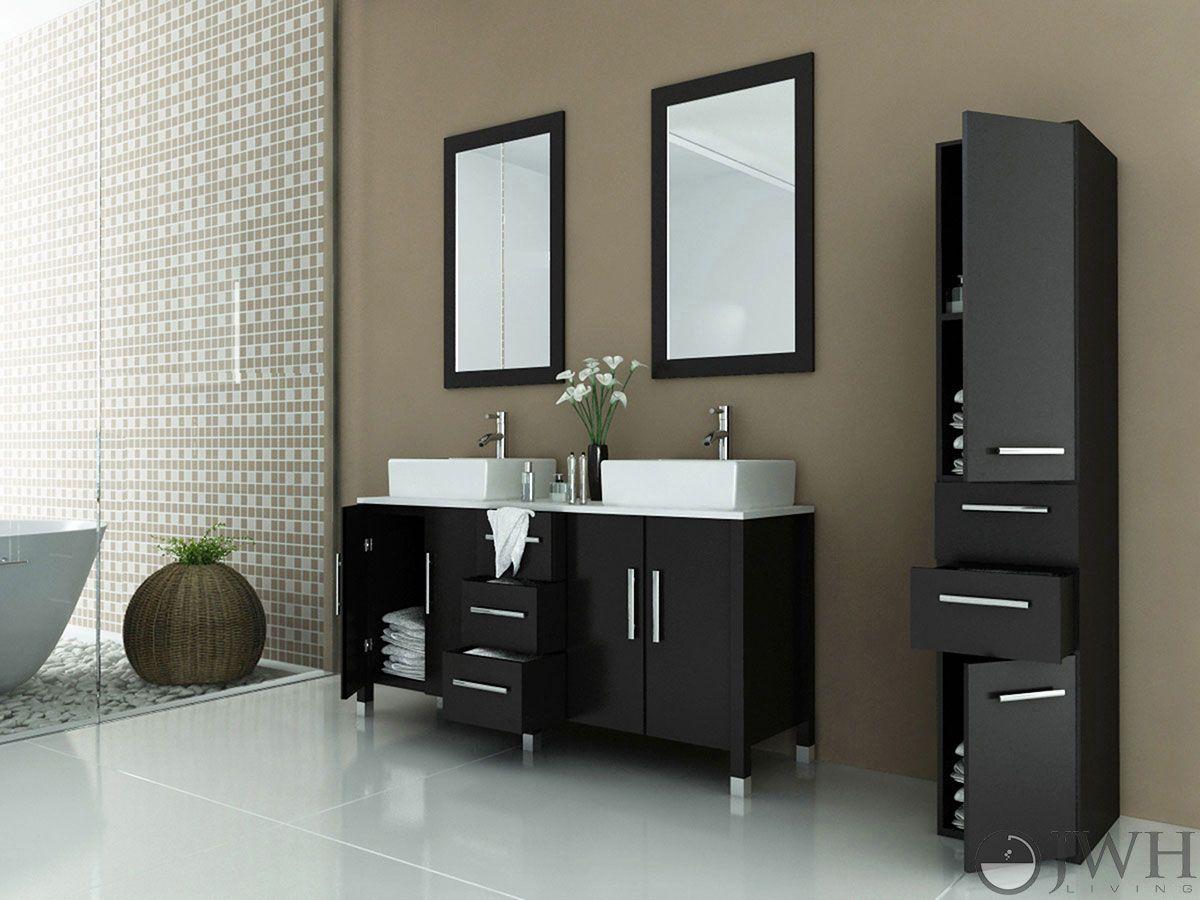 sirius double vessel sink vanity stone top ceramic vessel dark wood masculine design