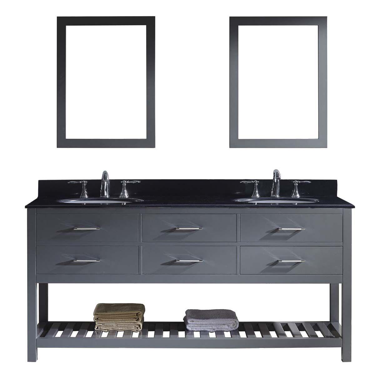 "caroline estate 72"" double bathroom vanity in grey with double mirror best material for a bathroom vanity"