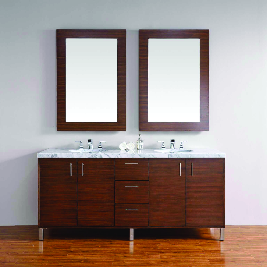 natural wood double bathroom vanity with marble top