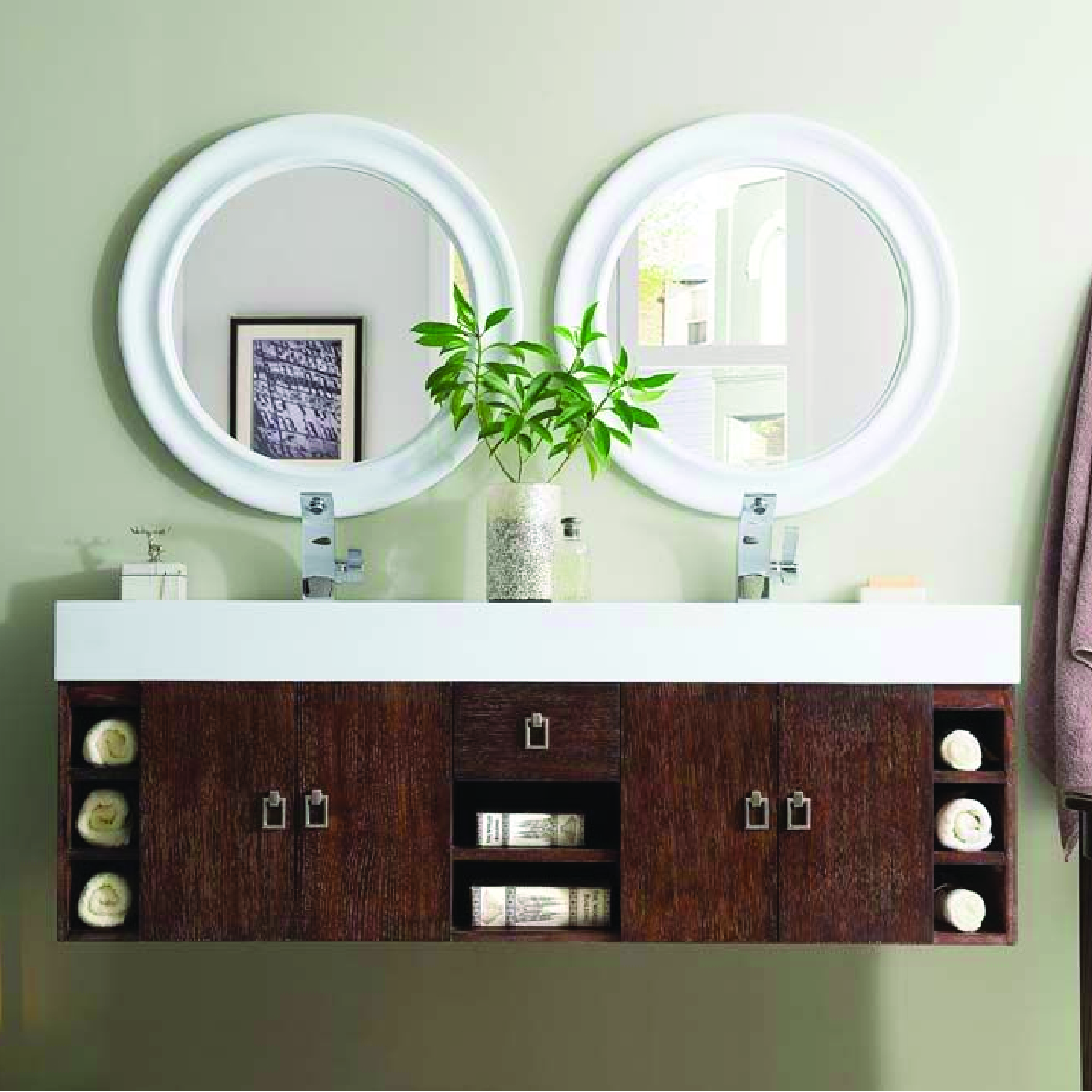 natural wood double floating vanity with all white counter