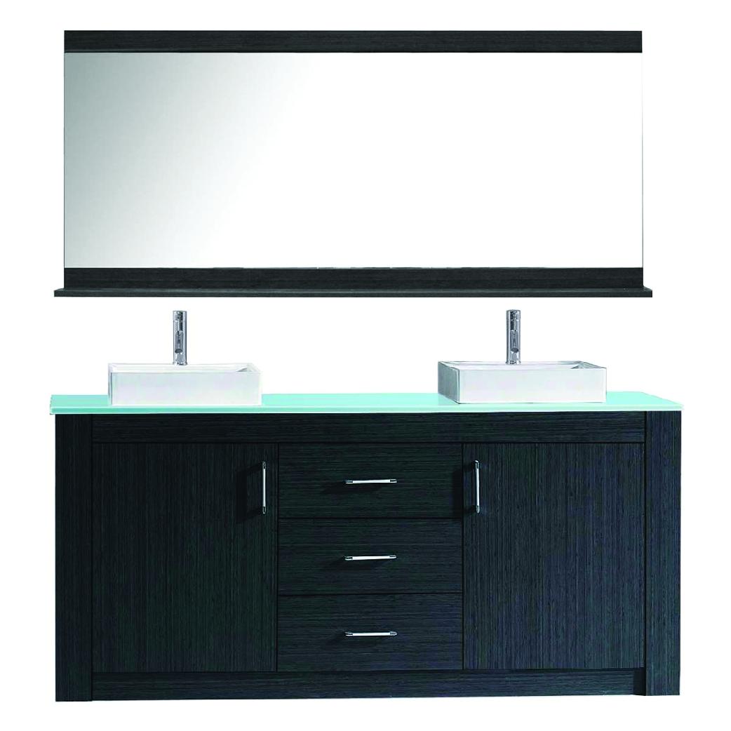 simple modern black double vessel sink vanity with silver pulls