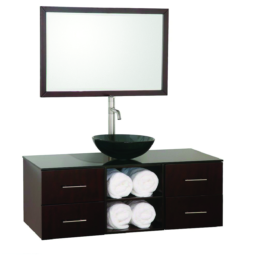 floating single vanity with glass vessel sink and towel cubbies