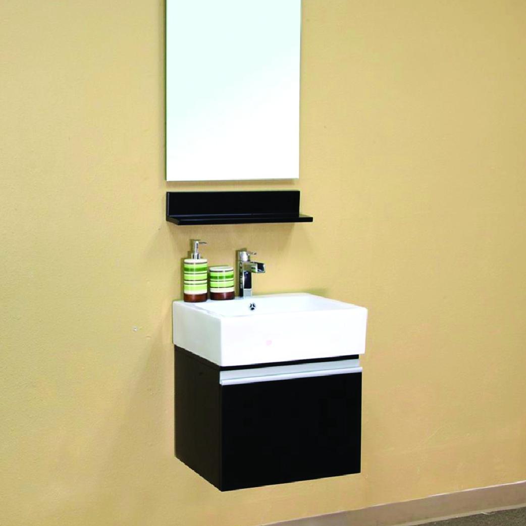 loreto single black floating vanity vessel sink with one drawer