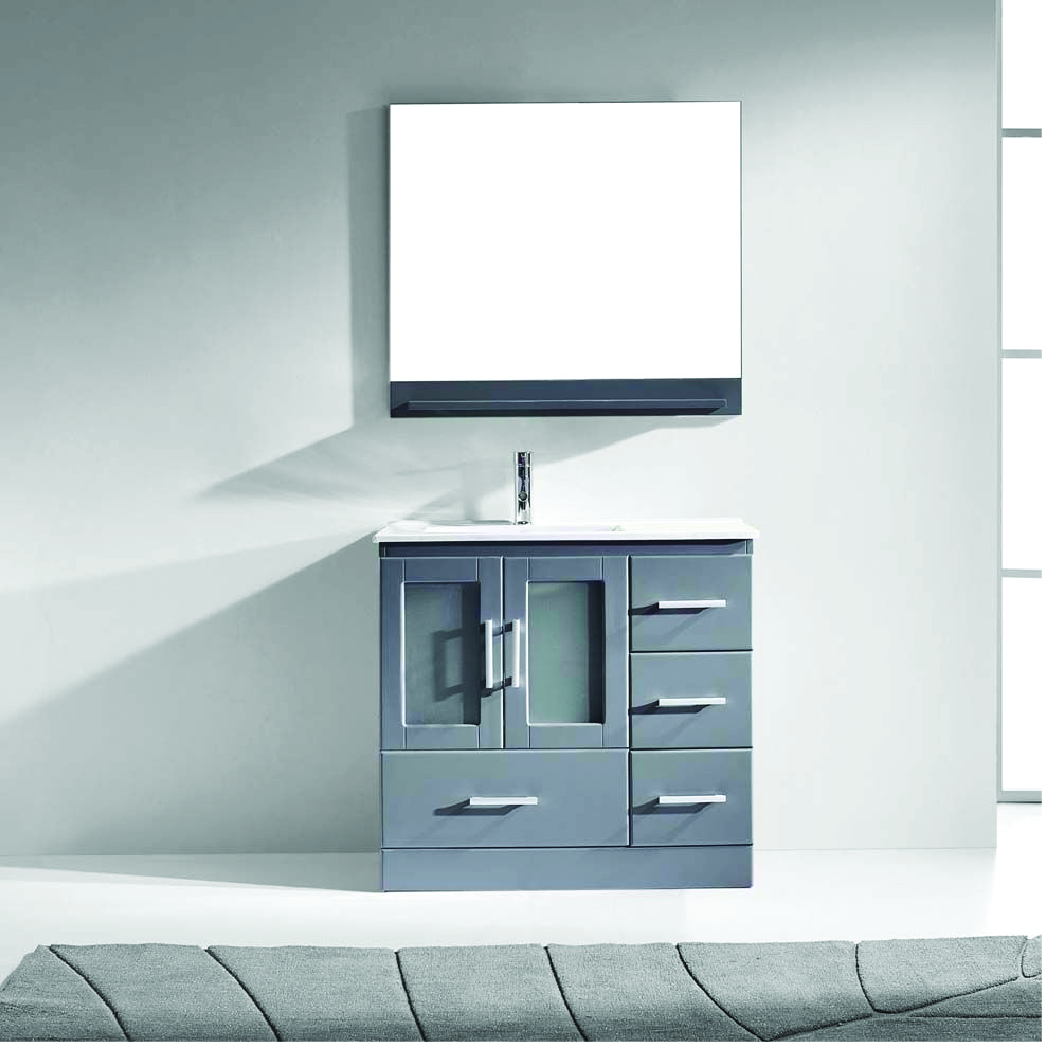 standing gray single vanity with white top