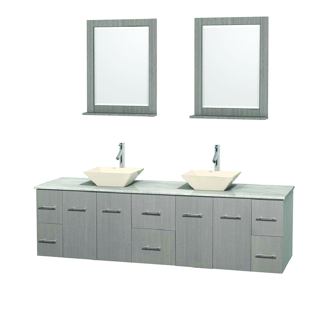 cantra floating double bathroom vanity with two vessel sinks in oak