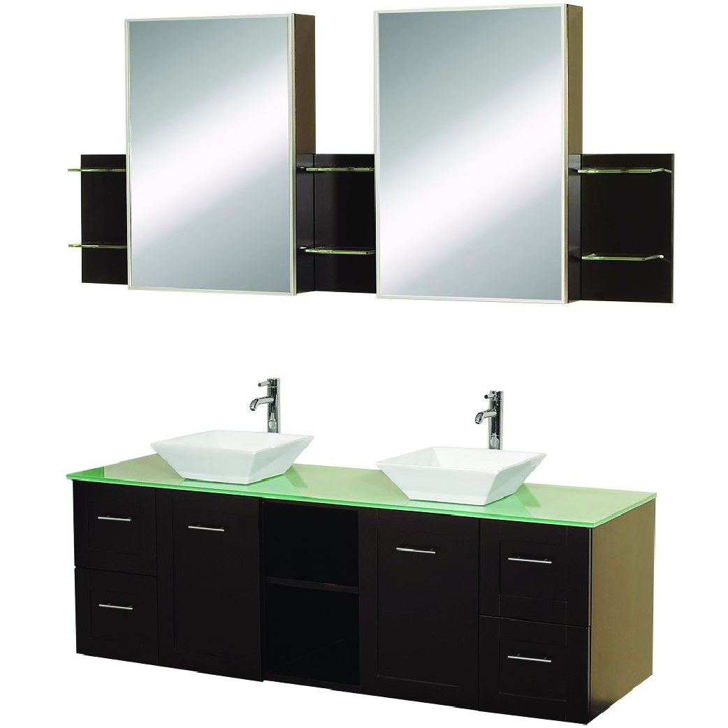 avara double vessel sink floating vanity in espresso with glass top