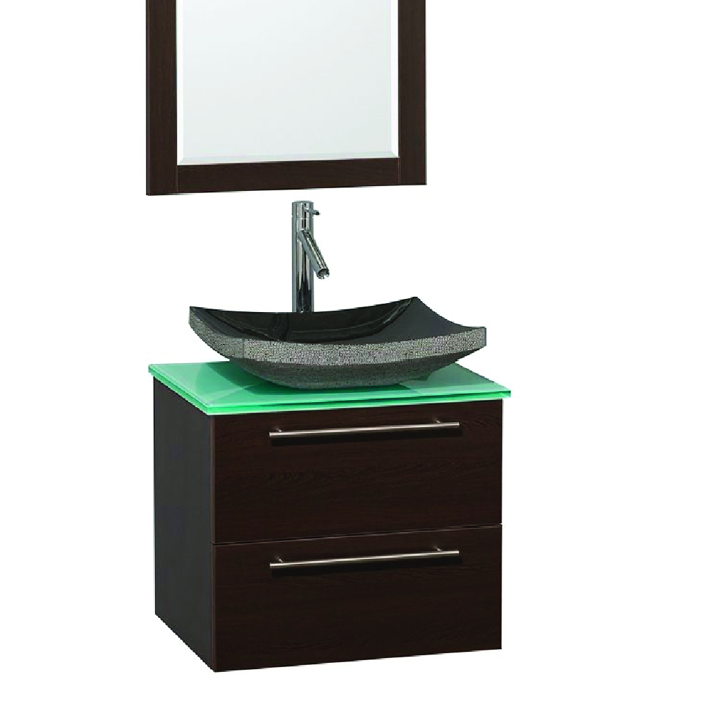 amare single vessel sink vanity in espresso with glass top
