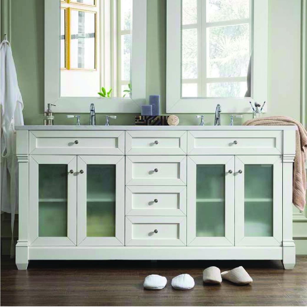 weston double vanity in white with glass doors