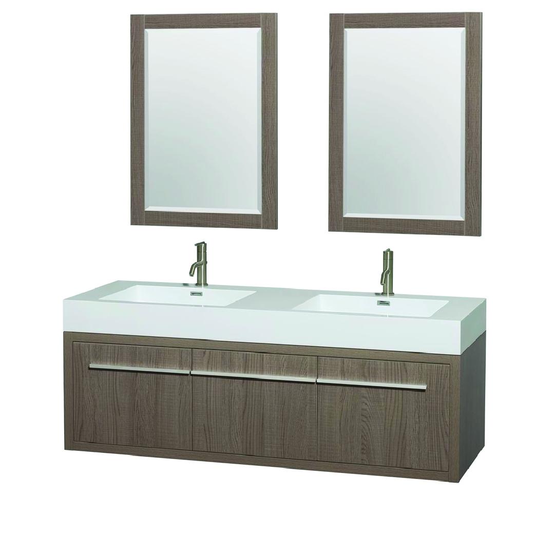 axa double bathroom vanity in gray oak