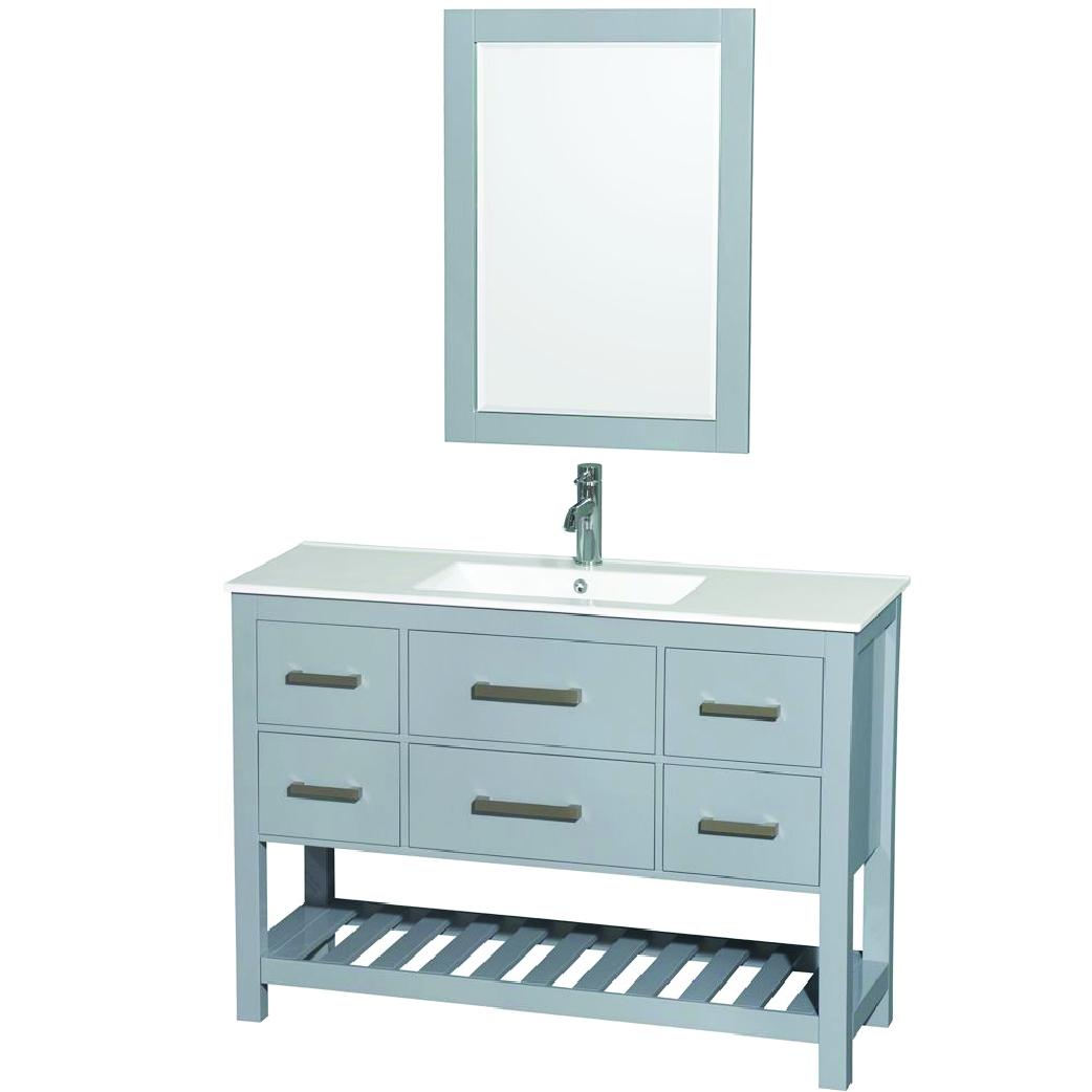 gray single modern bathroom vanity