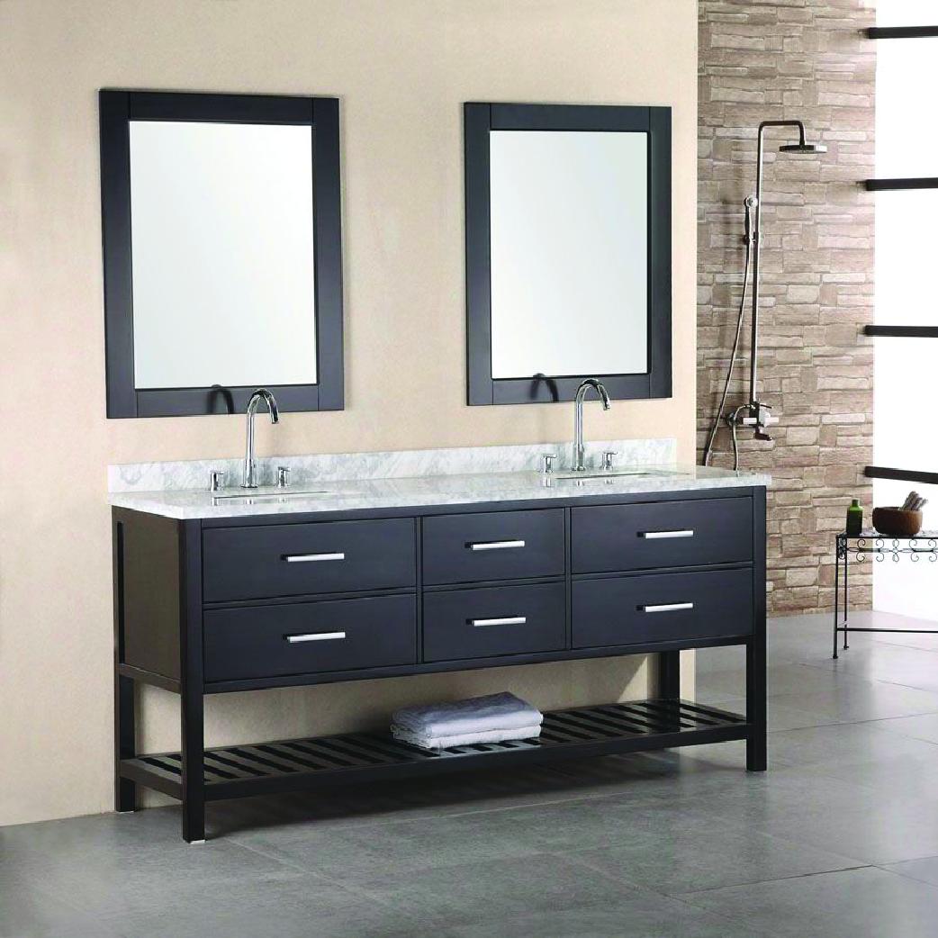 dark wood standing double vanity