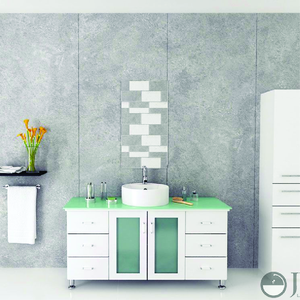all white single bathroom vanity with glass top