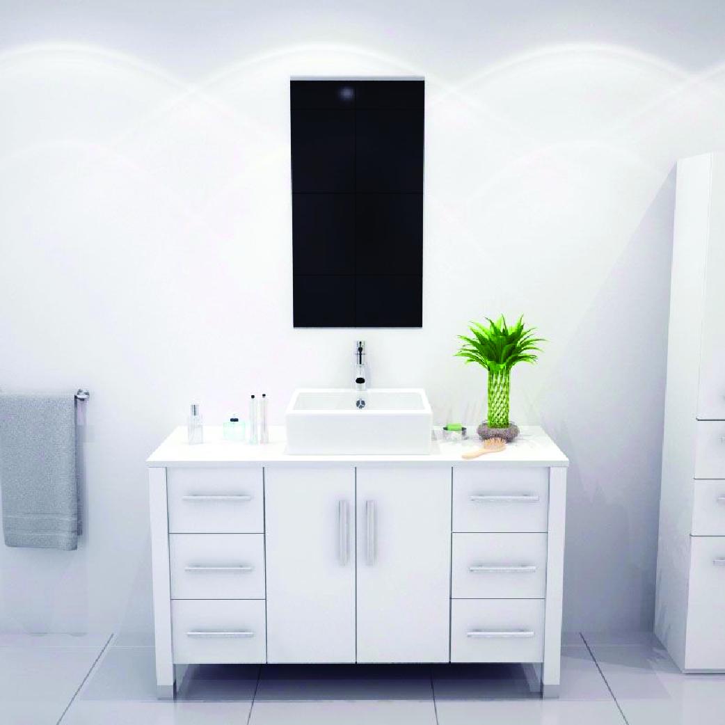 all white single bathroom vanity with vessel sink