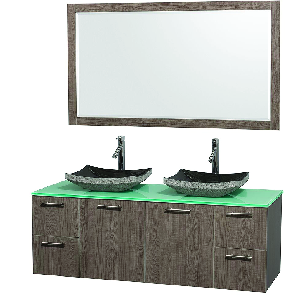 natural wood double vessel sink floating vanity with glass top