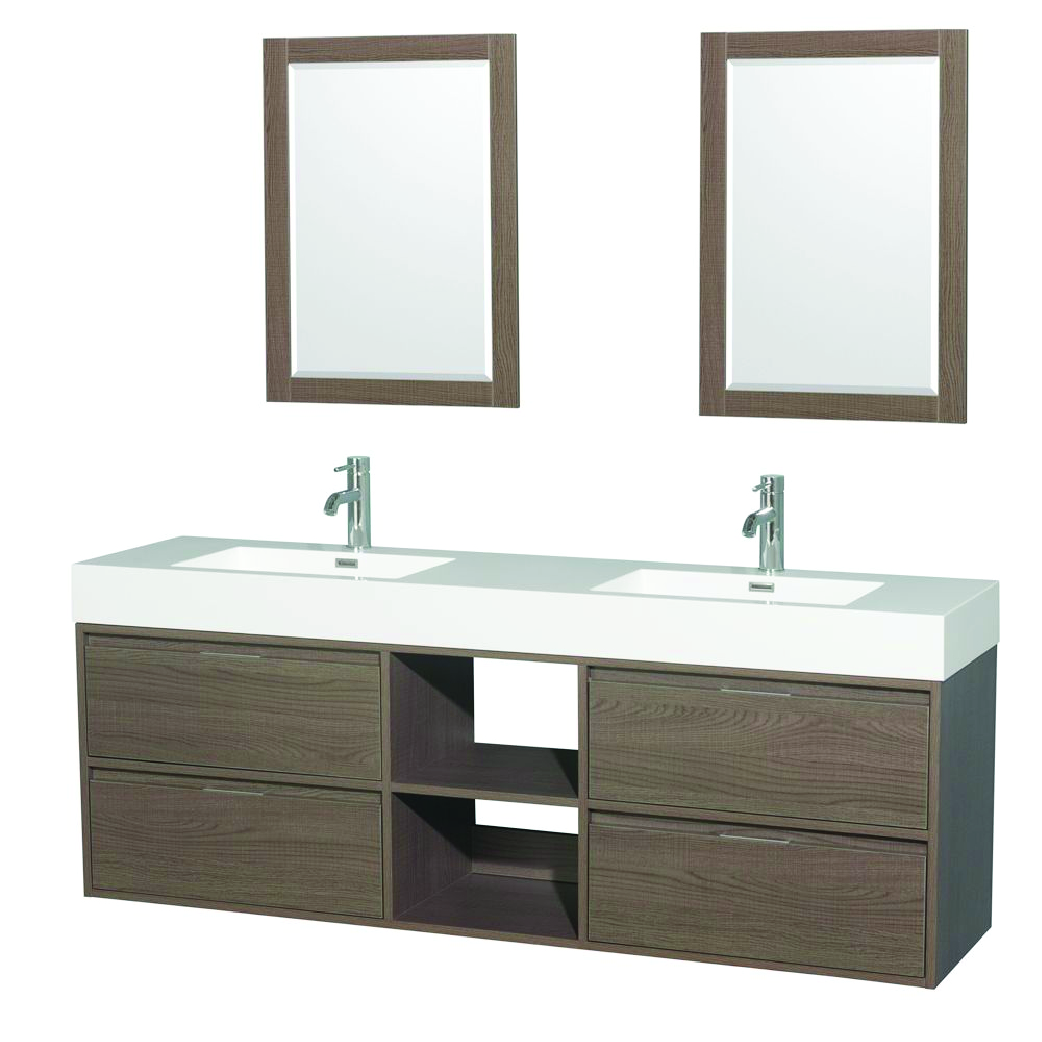 basic natural wood double sink floating vanity with cubbies