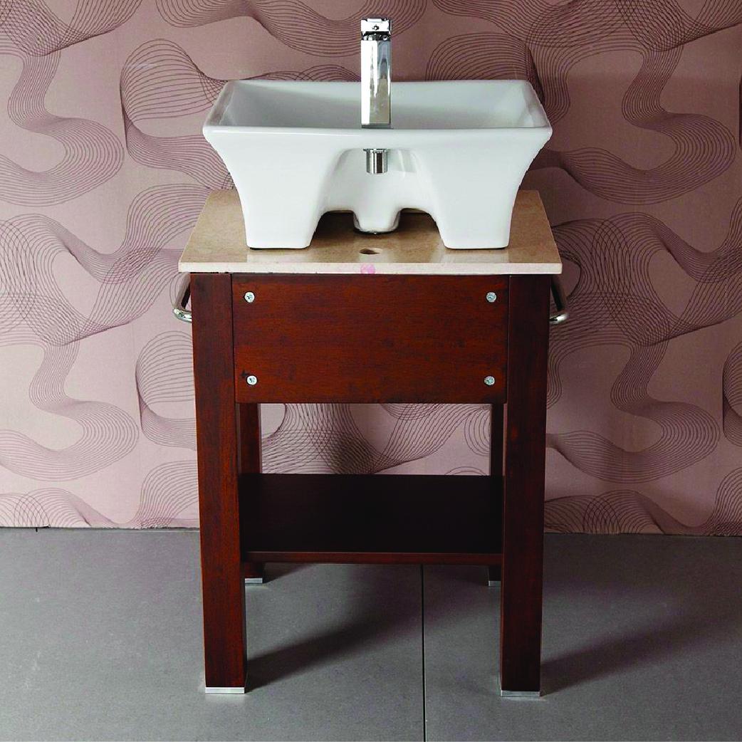 willowapple single brown wood vanity with vessel sink