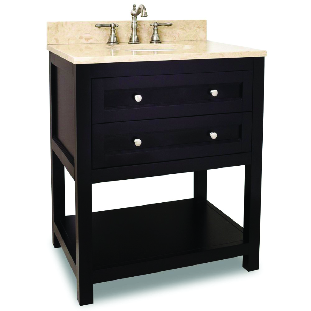 basic modern single bathroom vanity in espresso with two drawers