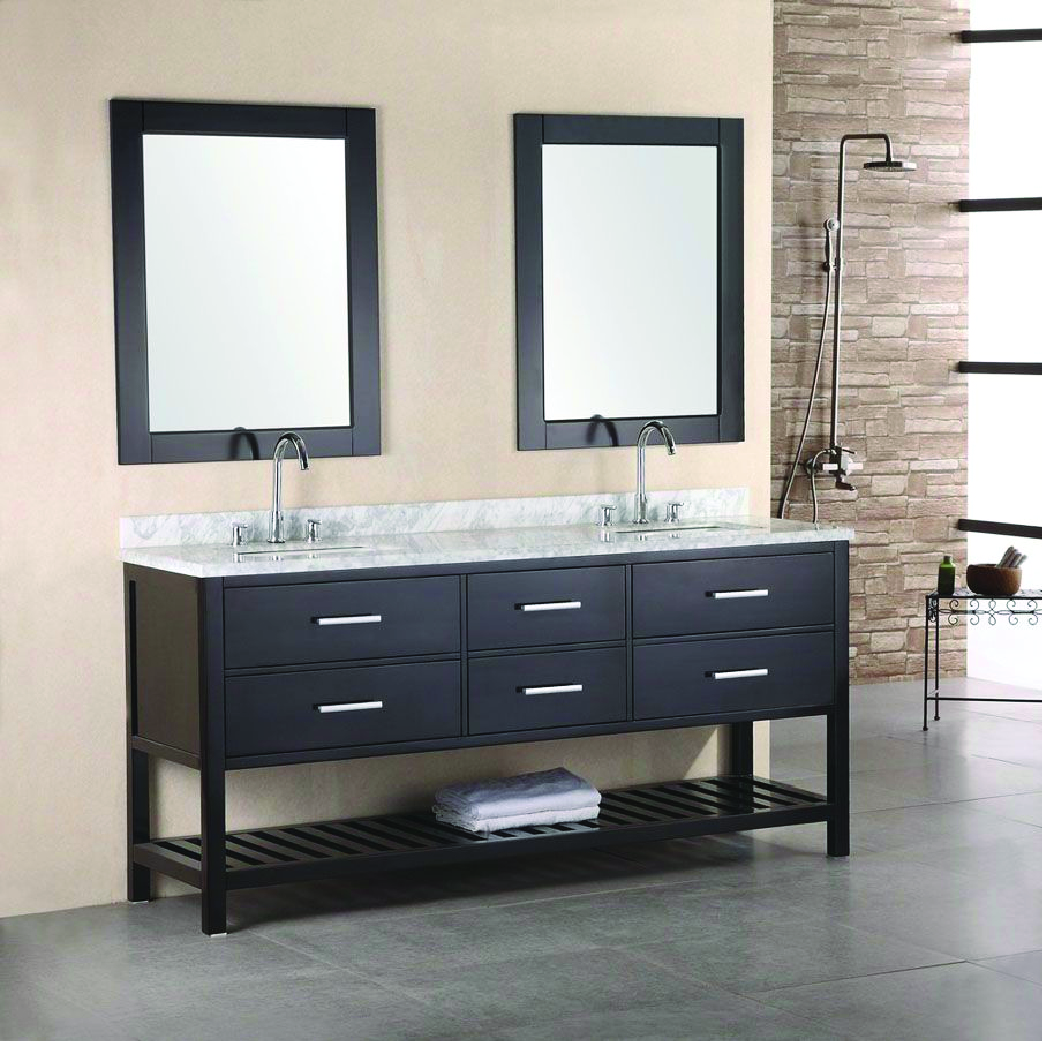 london double sink vanity in espresso with towel holder and marble top