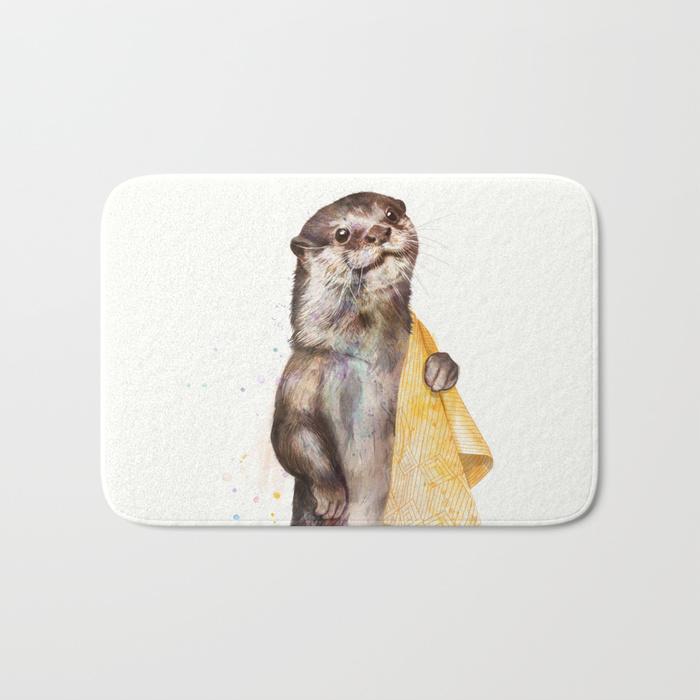 fun otter bath mat personalize bathroom