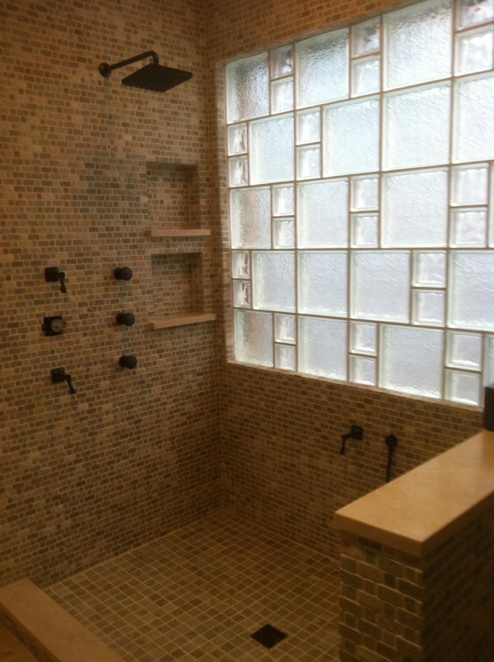 glass block custom style window in shower