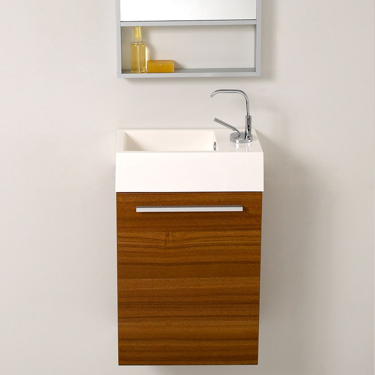Pulito Shallow Floating Vanity. Narrow Bathroom Vanities with 8 18 Inches of Depth