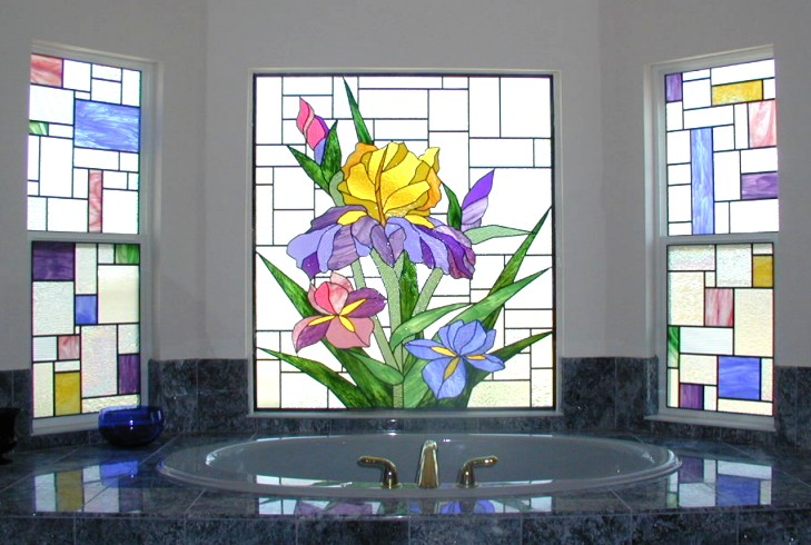 stained glass bathroom window with clear and colorful glass natural light