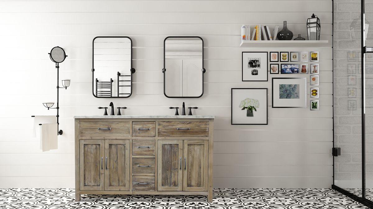 bathroom design trends of 2019 farmhouse double sink vanity sustainability