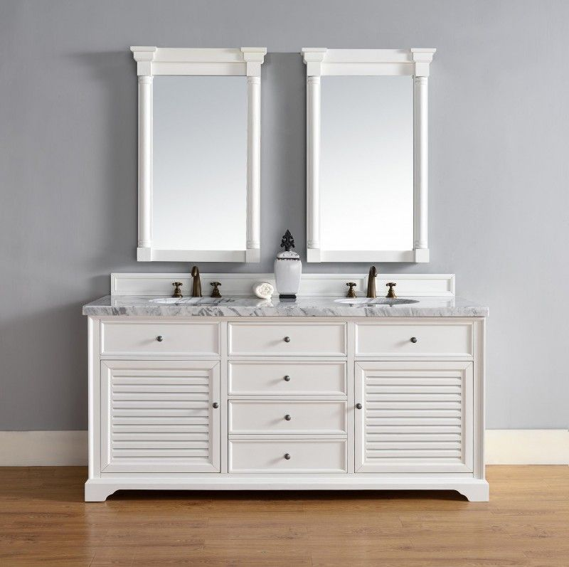 The Savannah double sink vanity has plenty of room within its rustic tiered cabinet design, shown here in Cottage White finish
