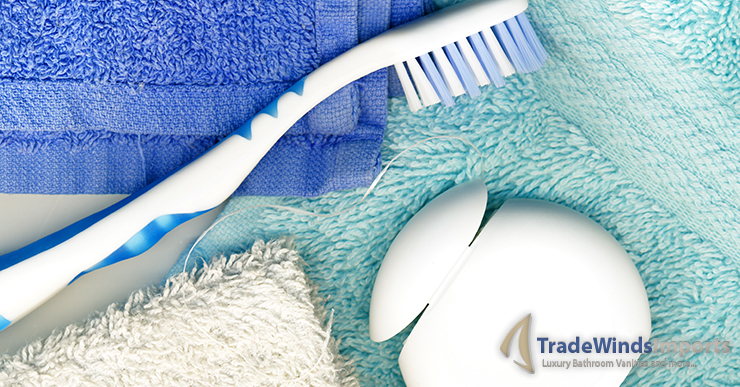 Toothbrush, with floss and towels