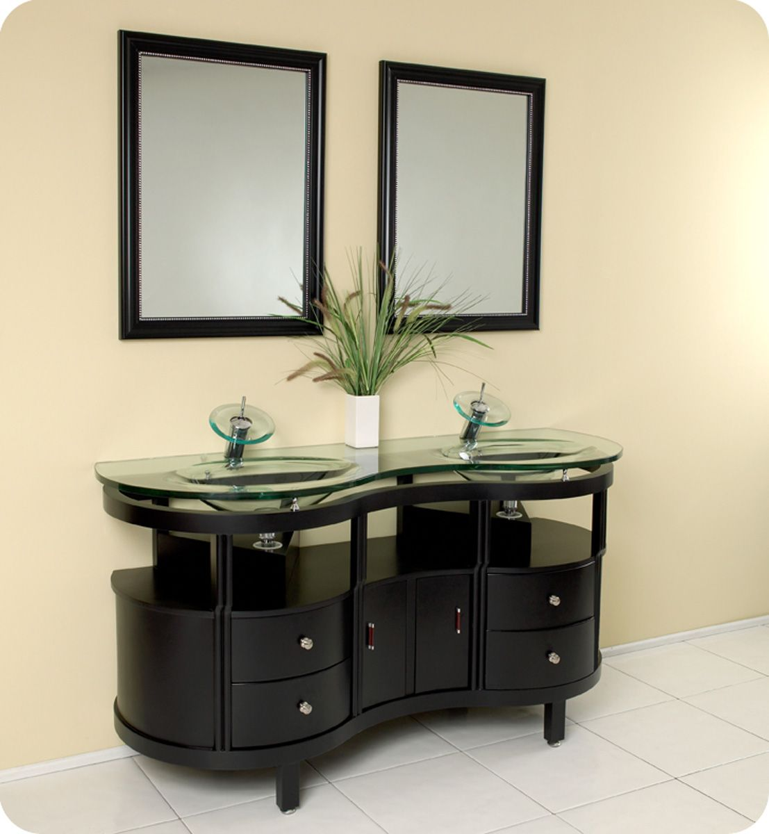 unico vanity with integrated glass countertop