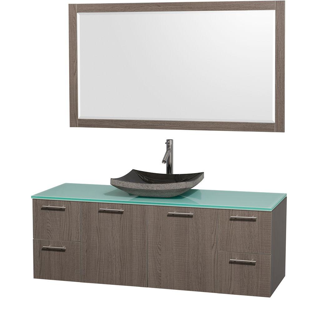 amare single bathroom vanity in gray oak best material for a bathroom vanity