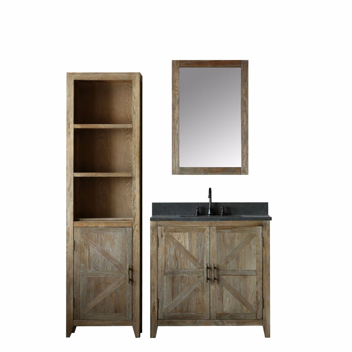The Willownest Petite antique bathroom vanity has rustic style to spare with rich wood tones and a linen tower straight out of a farmhouse