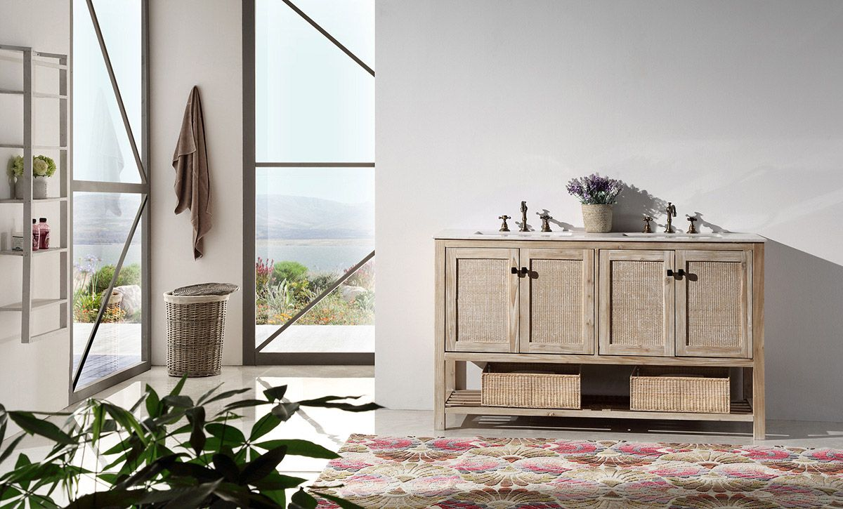 The Willowhills 60-inch double sink antique bathroom vanity has plenty of storage space to spare